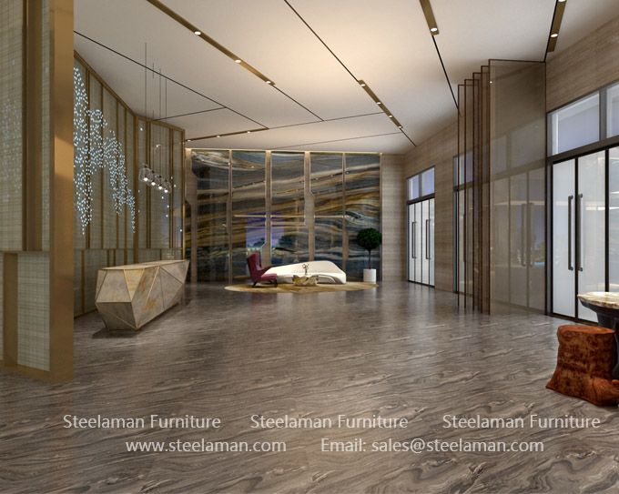 Hotel lobby metal decoration design engineering