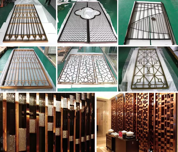 China Factory Stainless Steel Metal decorative room screens separators dividers partitions panels